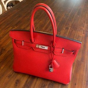 Handbags - Birkin Inspired 35 cm Lipstick Red Leather Bag